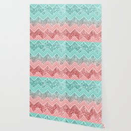 Summer Vibes Glitter Chevron #1 #coral #mint #shiny #decor #art #society6 Wallpaper