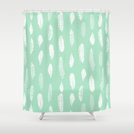 Feathers pattern minimal mint and white feather pattern trendy boho gifts for nursery decor Shower Curtain