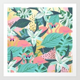 Flamingo Tropical #society6 #decor #buyart Art Print