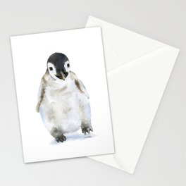 Baby Penguin Watercolor Stationery Cards