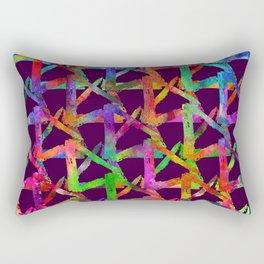 Cool watercolor rainbow brush plaid. Bright print Rectangular Pillow