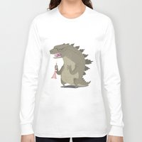 godzilla Long Sleeve T-shirts featuring Godzilla by Rod Perich