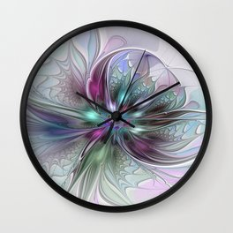 Colorful Fantasy Abstract Modern Fractal Flower Wall Clock