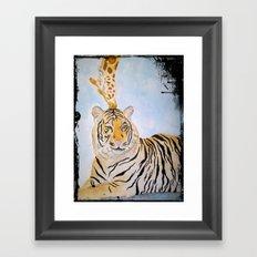 Giraffe Kissing Tiger Framed Art Print