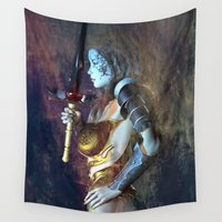 sword Wall Tapestries featuring The Sword of Light by Brian Raggatt