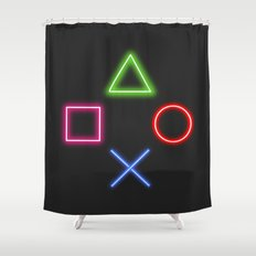 Neon Buttons Shower Curtain