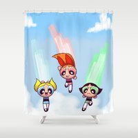 patriarchy Shower Curtains featuring Fight Like A Girl by Areyu