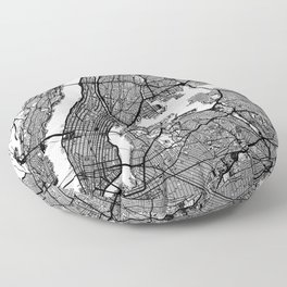 New York City, New York Map Art (White) Floor Pillow