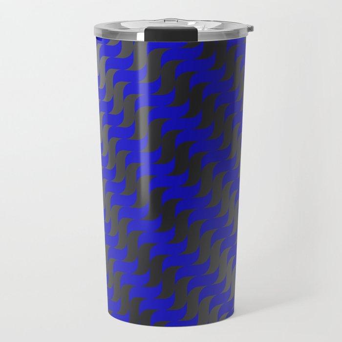 3d Blue Wavy Lines Travel Mug