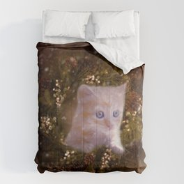 Christmas kitten watching the snow Comforters