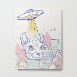 Alien Cat Metal Print