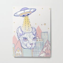 Alien Cat Metal Print