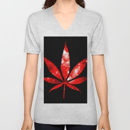 Weed : High Times red Galaxy Unisex V-Neck