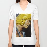 he man V-neck T-shirts featuring HE-MAN by John McGlynn