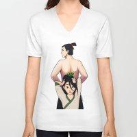 mulan V-neck T-shirts featuring Mulan by Ashleigh Jane