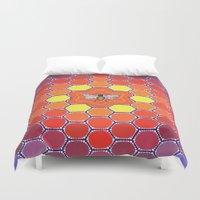 sacred geometry Duvet Covers featuring Bee Sacred Geometry by Elspeth McLean