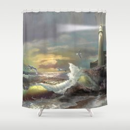 Michigan Lighthouse with an Angry Sea Shower Curtain