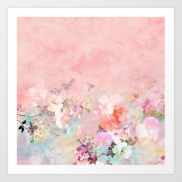 Modern blush watercolor ombre floral watercolor pattern Art Print