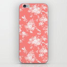 Vintage elegant coral white bohemian floral iPhone Skin