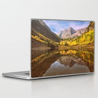 mountains Laptop & iPad Skins featuring mountains. Mirror Lake by 2sweet4words Designs