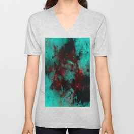 Ruby Galaxy - Abstract cyan, red and black space themed painting Unisex V-Neck