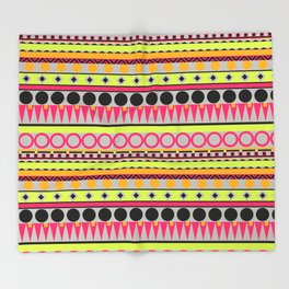 Neon and Grey Aztec stripes Throw Blanket