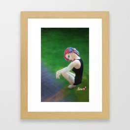 Mew Mara autographed print posing in the park in hoodies and thshirts  Framed Art Print