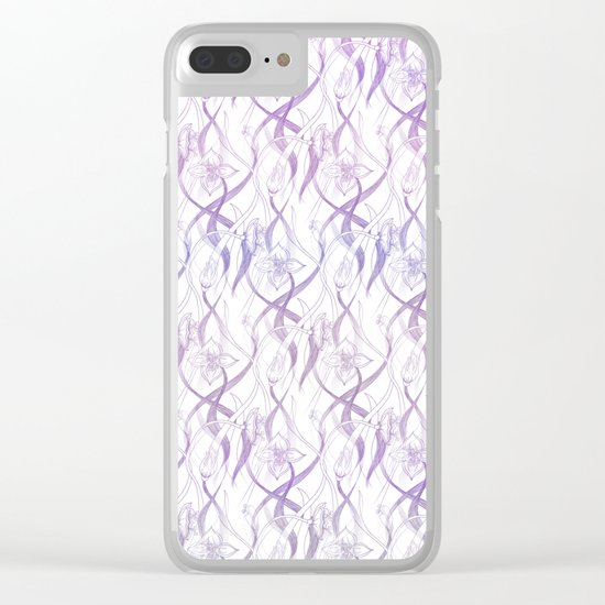 Floral Pattern - Purple Clear iPhone Case