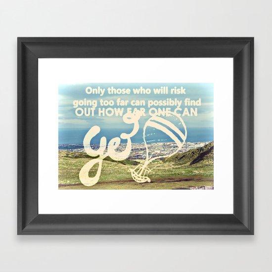 Adventure Quote, hot air balloon Framed Art Print