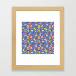 Fun Robot Toy Pattern Framed Art Print