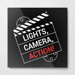 Light Camera Action Clapperboard Metal Print