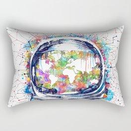 astronaut world map colorful Rectangular Pillow