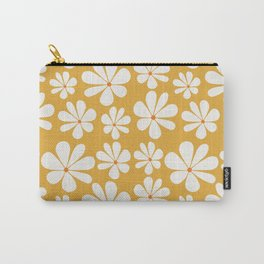 Floral Daisy Pattern - Golden Yellow Carry-All Pouch
