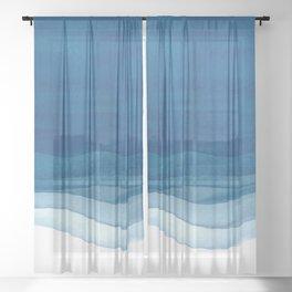 Watercolor blue waves Sheer Curtain