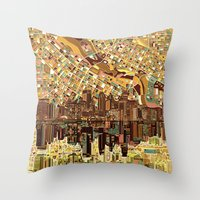 minneapolis Throw Pillows featuring minneapolis city skyline by Bekim ART