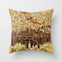 minneapolis Throw Pillows featuring minneapolis city skyline by Bekim ART