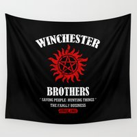 dean winchester Wall Tapestries featuring Winchester Brothers by YiannisTees