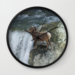 Big Horn Sheep & Rocky Mountain Waterfall Wall Clock
