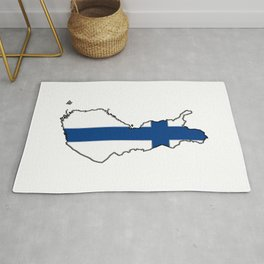 Finland Map with Finnish Flag Rug