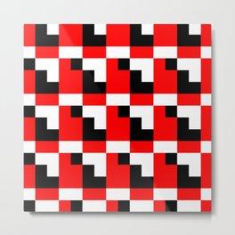 Red black step pattern Metal Print