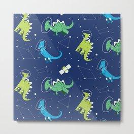 Dinosaur Constellation Pattern Metal Print