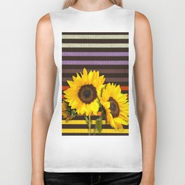 FUN STRIPES-SUNFLOWERS Biker Tank