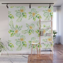 Watercolor yellow green hand painted camellia pattern Wall Mural