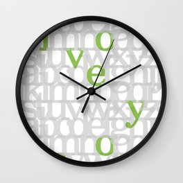 The ABC of i love you. In Olive Green. Wall Clock