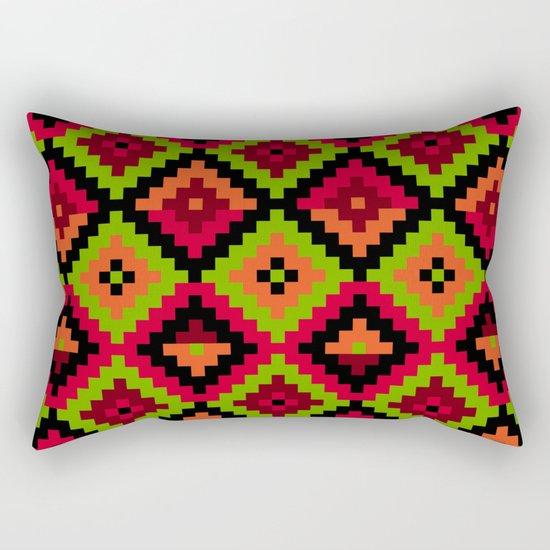 Aztec pattern - green Rectangular Pillow