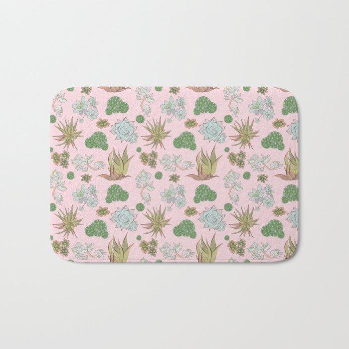 Pastel Succulents and Cacti Bath Mat