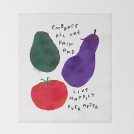 Avocado Tomato Eggplant Vegetables Illustration Life Typography Positive Happy Quotes Throw Blanket