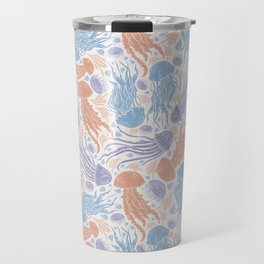 Multicolored jellyfish mix with coral and seashell Travel Mug