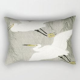 Flying Egrets - Japanese vintage woodblock print Rectangular Pillow