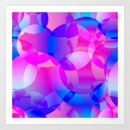 Violet and blue soap bubbles. Art Print